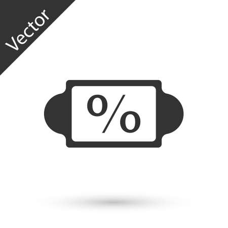 Grey Discount percent tag icon isolated on white background. Shopping tag sign. Special offer sign. Discount coupons symbol. Vector Illustration.