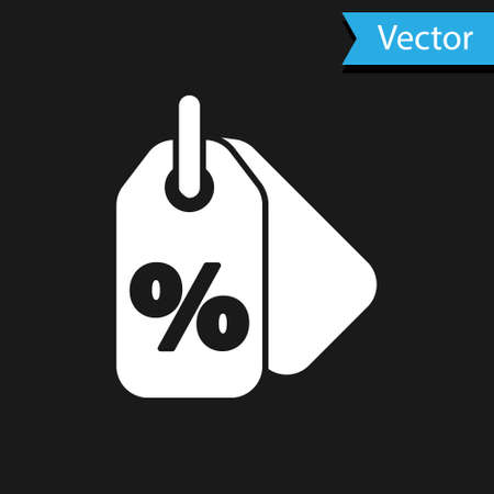 White Discount percent tag icon isolated on black background. Shopping tag sign. Special offer sign. Discount coupons symbol. Vector Illustration. Ilustracja