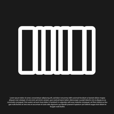 Black Barcode icon isolated on black background. Vector Illustration.