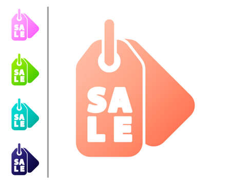 Coral Price tag with an inscription Sale icon isolated on white background. Badge for price. Promo tag discount. Set color icons. Vector Illustration.