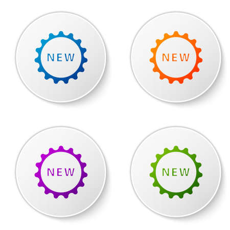 Color Price tag with an inscription New icon isolated on white background. Badge for price. Promo tag discount. Set icons in circle buttons. Vector Illustration. Ilustracja