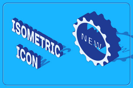 Isometric Price tag with an inscription New icon isolated on blue background. Badge for price. Promo tag discount. Vector Illustration. Ilustracja