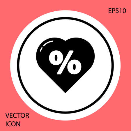 Black Discount percent tag in heart icon isolated on red background. Shopping tag sign. Special offer sign. Discount coupons symbol. White circle button. Vector Illustration. Ilustracja