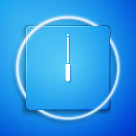 White Knife sharpener icon isolated on blue background. Blue square button. Vector Illustration.