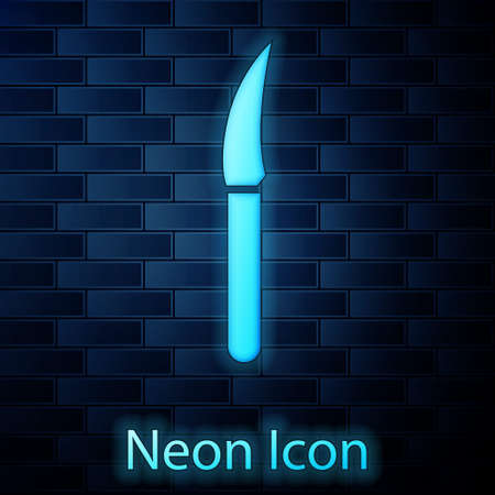 Glowing neon Knife icon isolated on brick wall background. Cutlery symbol. Vector Illustration.