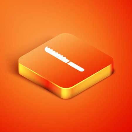 Isometric Bread knife icon isolated on orange background. Cutlery symbol. Vector Illustration.