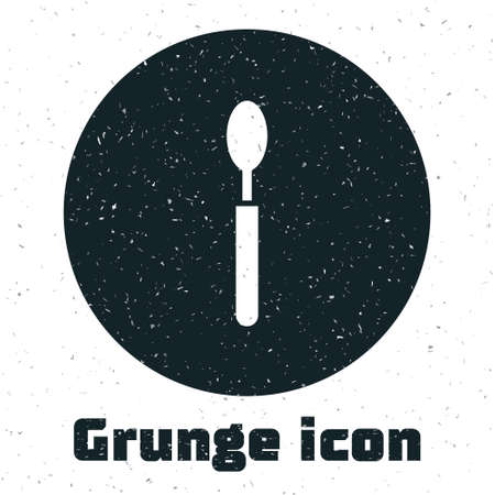 Grunge Spoon icon isolated on white background. Cooking utensil. Cutlery sign. Monochrome vintage drawing. Vector Illustration.