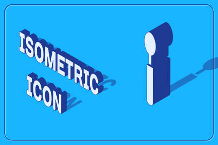 Isometric Spoon icon isolated on blue background. Cooking utensil. Cutlery sign. Vector Illustration. Illusztráció