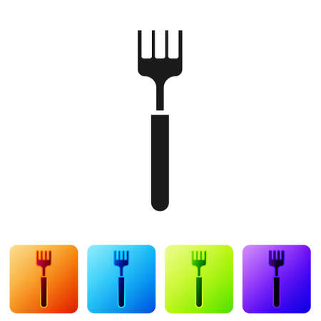 Black Fork icon isolated on white background. Cutlery symbol. Set icons in color square buttons. Vector Illustration.