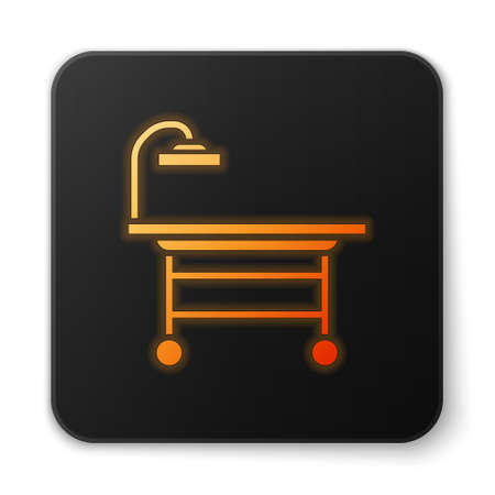 Orange glowing neon Operating table icon isolated on white background. Black square button. Vector Illustration.