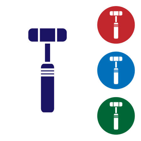 Blue Neurology reflex hammer icon isolated on white background. Set icons in color square buttons. Vector Illustration.
