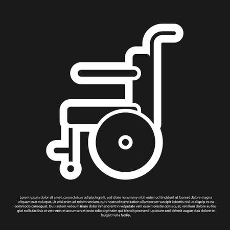 Black Wheelchair for disabled person icon isolated on black background. Vector Illustration. Ilustração