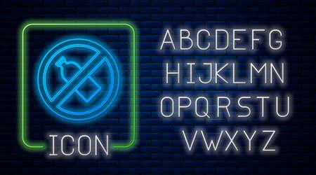Glowing neon No plastic bottle icon isolated on brick wall background. Neon light alphabet. Vector Illustration.