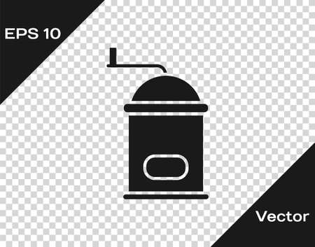 Black Manual coffee grinder icon isolated on transparent background. Vector Illustration.