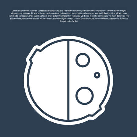 Blue line Eclipse of the sun icon isolated on blue background. Total sonar eclipse. Vector Illustration. Ilustracja