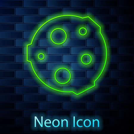 Glowing neon line Moon icon isolated on brick wall background. Vector Illustration. Standard-Bild - 151140410