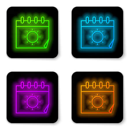 Glowing neon line Calendar and sun icon isolated on white background. Event reminder symbol. Black square button. Vector Illustration. Stock Illustratie