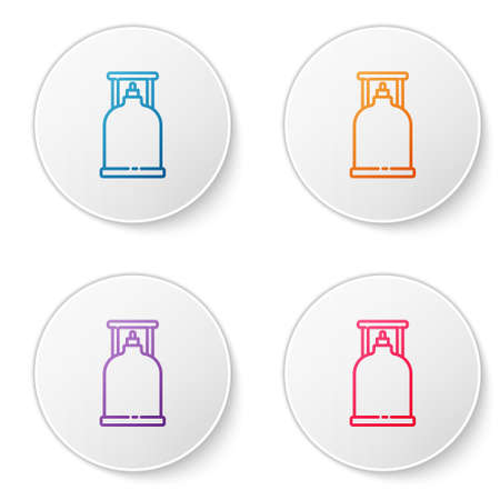 Color line Camping gas stove icon isolated on white background. Portable gas burner. Hiking, camping equipment. Set icons in circle buttons. Vector Illustration.
