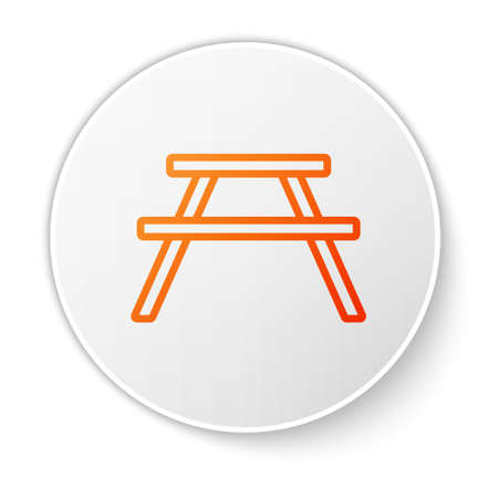 Orange line Picnic table with benches on either side of the table icon isolated on white background. White circle button. Vector Illustration. 일러스트