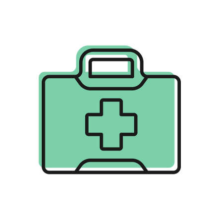 Black line First aid kit icon isolated on white background. Medical box with cross. Medical equipment for emergency. Healthcare concept. Vector Illustration.