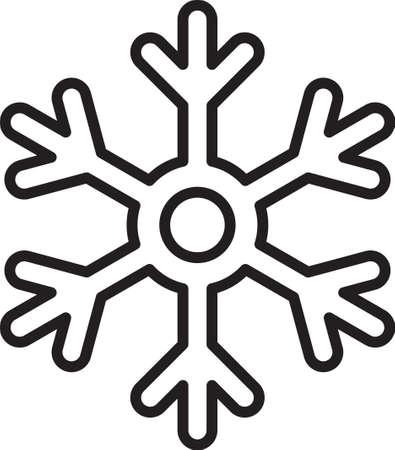 Black line Snowflake icon isolated on white background. Vector Illustration.