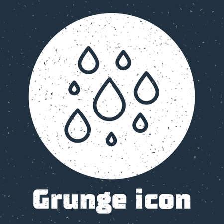 Grunge line Water drop icon isolated on grey background. Monochrome vintage drawing. Vector Illustration.