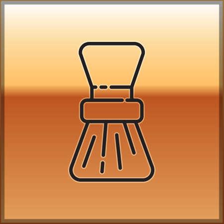 Black line Shaving brush icon isolated on gold background. Barbershop symbol. Vector Illustration.
