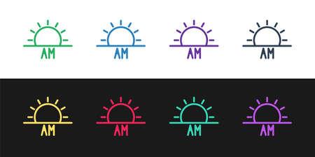 Set line Sunrise icon isolated on black and white background. Vector Illustration. Illusztráció