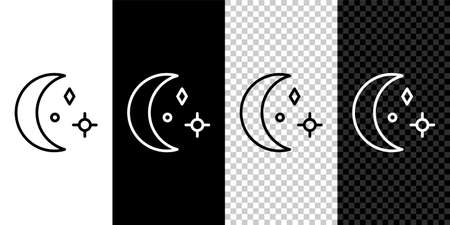 Set line Moon and stars icon isolated on black and white background. Cloudy night sign. Sleep dreams symbol. Night or bed time sign. Vector Illustration.