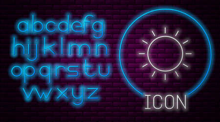 Glowing neon line Sun icon isolated on brick wall background. Summer symbol. Good sunny day. Neon light alphabet. Vector Illustration. Иллюстрация