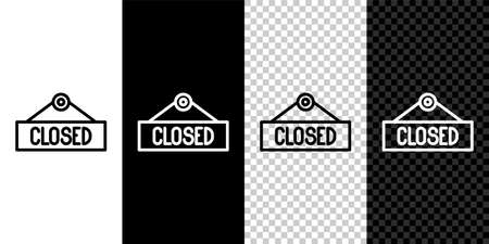 Set line Hanging sign with text Closed icon isolated on black and white background. Business theme for cafe or restaurant. Vector Illustration.