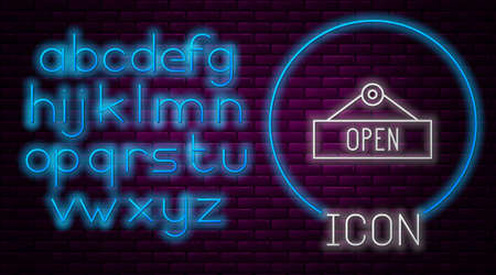 Glowing neon line Hanging sign with text Open door icon isolated on brick wall background. Neon light alphabet. Vector Illustration. 矢量图像