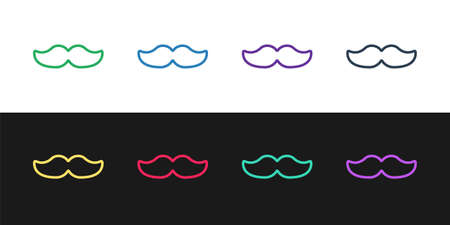 Set line Mustache icon isolated on black and white background. Barbershop symbol. Facial hair style. Vector Illustration. 矢量图像