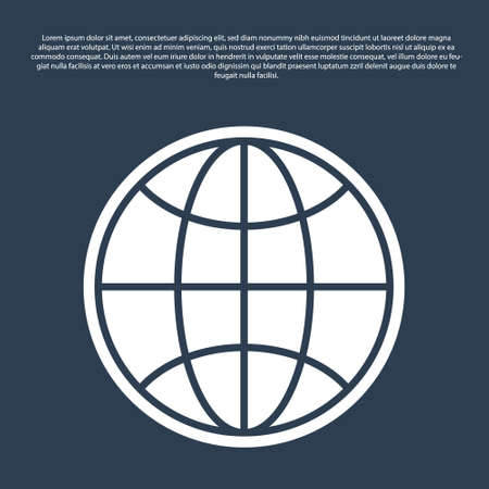 Blue line Worldwide icon isolated on blue background. Pin on globe. Vector Illustration.