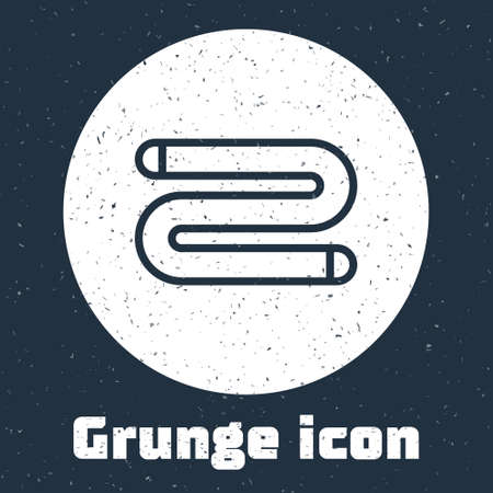 Grunge line Towel icon isolated on grey background. Monochrome vintage drawing. Vector Illustration.