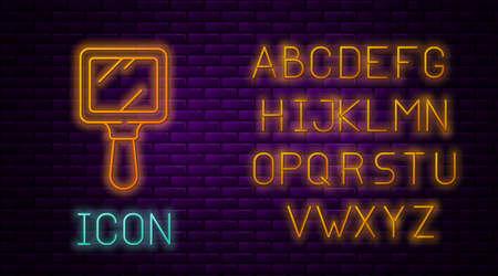 Glowing neon line Hand mirror icon isolated on brick wall background. Neon light alphabet. Vector Illustration.