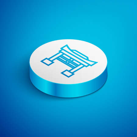 Isometric line Japan Gate icon isolated on blue background. Torii gate sign. Japanese traditional classic gate symbol. White circle button. Vector Illustration.