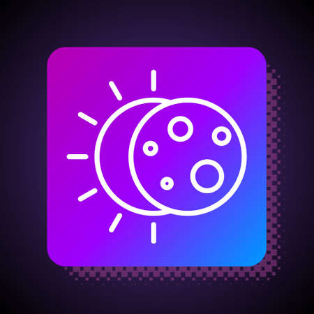 White line Eclipse of the sun icon isolated on black background. Total sonar eclipse. Square color button. Vector Illustration. Ilustracja