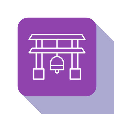 White line Japan Gate icon isolated on white background. Torii gate sign. Japanese traditional classic gate symbol. Purple square button. Vector Illustration. 矢量图像