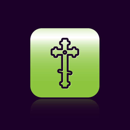 Black line Christian cross icon isolated on black background. Church cross. Green square button. Vector Illustration.