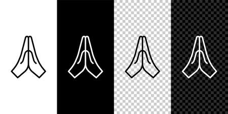 Set line Hands in praying position icon isolated on black and white background. Prayer to god with faith and hope. Vector Illustration.