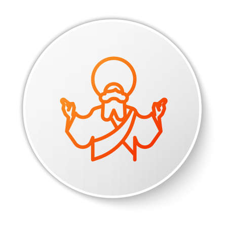 Orange line Jesus Christ icon isolated on white background. White circle button. Vector Illustration.