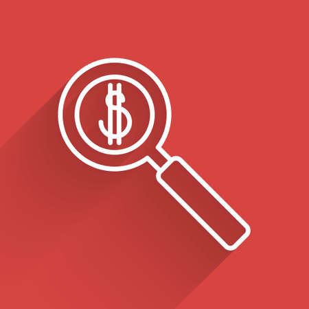 White line Magnifying glass and dollar symbol icon isolated with long shadow. Find money. Looking for money. Vector Illustration.