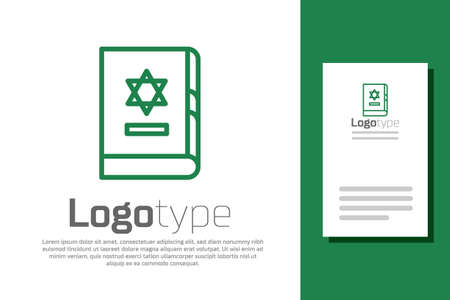 Green line Jewish torah book icon isolated on white background. On the cover of the Bible is the image of the Star of David. Logo design template element. Vector Illustration. Ilustracja