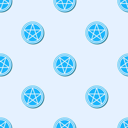 Blue line Pentagram in a circle icon isolated seamless pattern on grey background. Magic occult star symbol. Vector Illustration.