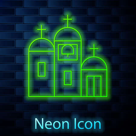 Glowing neon line Church building icon isolated on brick wall background. Christian Church. Religion of church. Vector Illustration. Иллюстрация