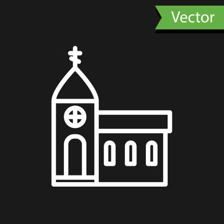 White line Church building icon isolated on black background. Christian Church. Religion of church. Vector Illustration. Illustration
