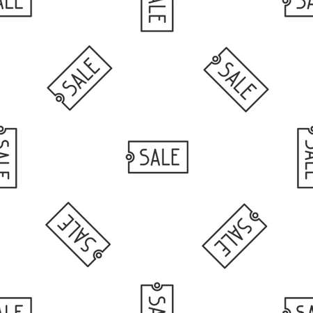 Grey line Price tag with an inscription Sale icon isolated seamless pattern on white background. Badge for price. Promo tag discount. Vector Illustration.