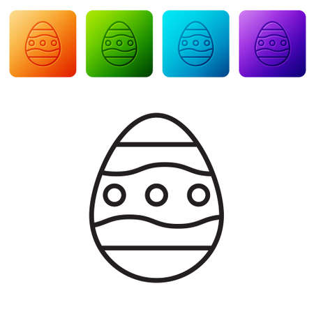 Black line Easter egg icon isolated on white background. Happy Easter. Set icons in color square buttons. Vector Illustration.