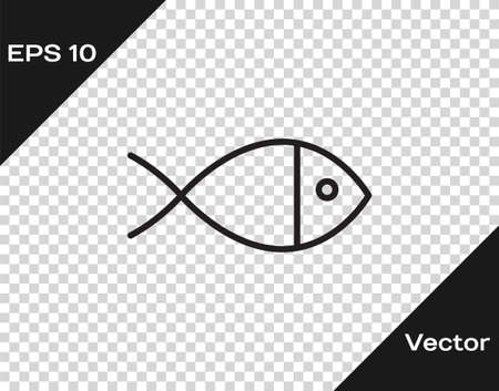 Black line Christian fish symbol icon isolated on transparent background. Jesus fish symbol. Vector Illustration.